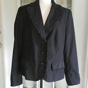 Luisa Cerano Gray Pinstripe Blazer Size 12